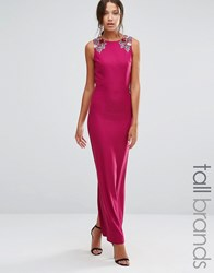 Little Mistress Tall Sleeveless Maxi Dress With Floral Embellished Shoulders Pink