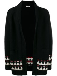 Saint Laurent Boho Motif Knitted Cardigan Black