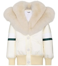 Miu Miu Fur Trimmed Coat White