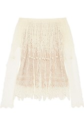 Alexander Mcqueen Off The Shoulder Pompom Embellished Silk Lace Top Ivory