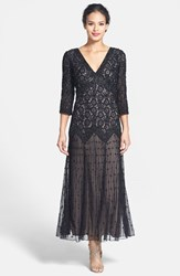 Pisarro Nights Women's Beaded Mesh Dress Black Nude