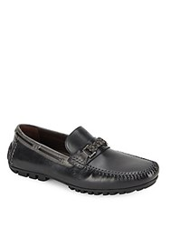 Bacco Bucci Zagreb Textured Leather Loafers Black Grey