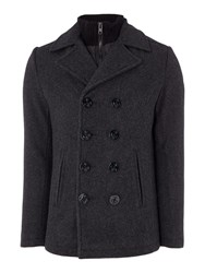 Schott Nyc Double Breasted Wool Peacoat Heather