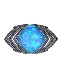 Stephen Webster Lady Stardust Opalescent Quartz And Black Diamond Ring Blue
