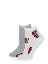 Juicy Couture Two Pack Floral And Heathered Ankle Socks White