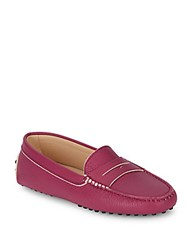 Tod's Gommini Leather Slip On Moccasins Bright Pink