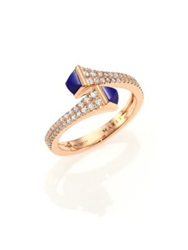 Marli Cleo Lapis Diamond And 18K Rose Gold Wrap Ring Gold Blue