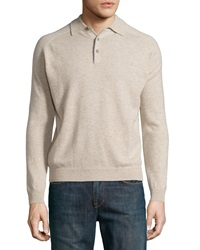 Neiman Marcus Cashmere Three Button Polo Sweater Sand