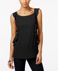 Inc International Concepts Ruffled Top Only At Macy's Deep Black