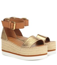See By Chloe Glyn Platform Espadrille Sandals Brown