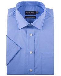 Double Two Men's King Size Short Sleeved Non Iron Cotton Shirt Blue