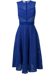 Pinko Perforated Flared Dress Blue