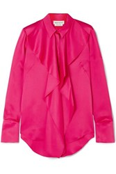 Alexander Mcqueen Draped Silk Satin Blouse Pink