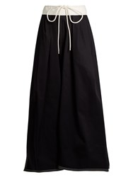 Chloe Gathered Waist Cotton Maxi Skirt Navy White
