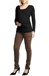 Women's Maternal America Wrap Ruched Nursing Top Black