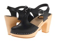 Swedish Hasbeens T Strap Sky High Black Clog Shoes