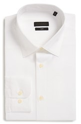 Z Zegna Men's Big And Tall Slim Fit Solid Stretch Dress Shirt White