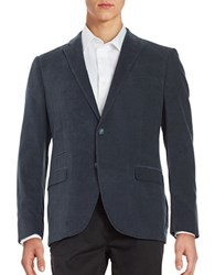 Black Brown Corduroy Blazer Slate Blue