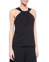 Nicholas Crepe Twist Front Sleeveless Top Black