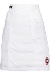 Canada Goose Camp Wrap Effect Quilted Shell Down Mini Skirt White