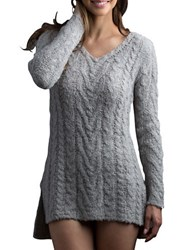 Lemon Plush Cableknit Sleep Tunic Grey
