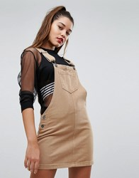 Liquor N Poker Denim Dungaree Dress Tan