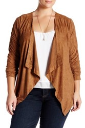 14Th And Union Draped Faux Suede Jacket Plus Size Brown