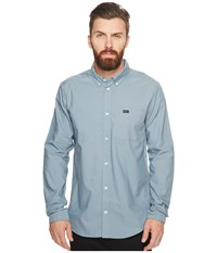 Rvca That'll Do Oxford L S Arona Blue Men's Long Sleeve Button Up