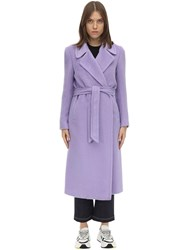Tagliatore Molly Belted Alpaca And Wool Coat Lilac