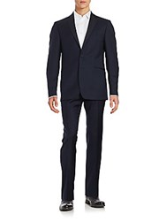 Calvin Klein Two Button Wool Suit Set Navy