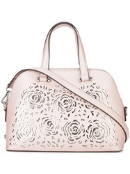 Christian Siriano Floral Cut Out Satchel Bag Pink And Purple