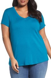 Sejour Plus Size Women's Short Sleeve V Neck Tee Teal Ocean