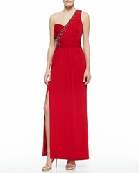 Laundry By Shelli Segal One Shoulder Embellished Gown Rose Red