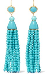 Kenneth Jay Lane Tasseled Gold Tone Beaded Earrings Turquoise