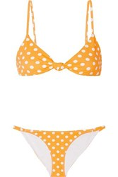 Caroline Constas Marta And Mykela Twist Front Polka Dot Bikini Yellow