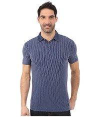 Calvin Klein Jeans Indigo Washed Print Estate Blue Men's Short Sleeve Knit Navy