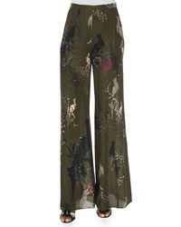 Haute Hippie Bird Print Wide Leg Pants Women's