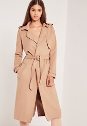 Missguided Raw Seam Faux Suede Trench Coat Nude Beige