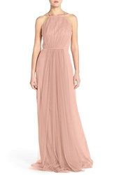 Women's Monique Lhuillier Bridesmaids Chiffon And Tulle Halter Gown Shell
