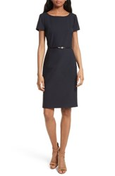 Boss Women's Dilya Belted Ballet Neck Sheath Dress Navy