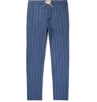 Oliver Spencer Loungewear Medway Striped Organic Cotton Pyjama Trousers Blue