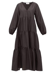 Matteau The Long Sleeve Tiered Cotton Dress Black