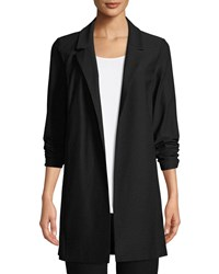 Eileen Fisher Open Front Long Sleeve Stretch Crepe Jacket Black