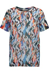 Carven Printed Chiffon And Cotton Jersey T Shirt Blue