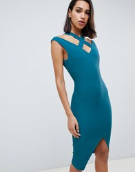 Vesper Wrap Front Midi Dress With Cut Out Detail Green