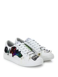 Marc Jacobs Empire Patched And Studded Lace Up Sneakers White Multicolor
