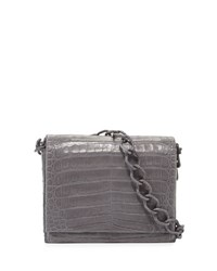 Nancy Gonzalez Jumbo Gio Crocodile Crossbody Bag Gray