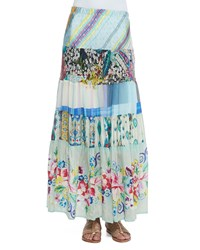 Johnny Was Floral Print Tiered Silk Skirt Multi
