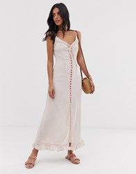 Lost Ink Cami Maxi Dress With Contrast Button Front Pink