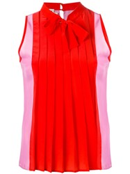 Fausto Puglisi Pleated Blouse Women Silk 42 Red